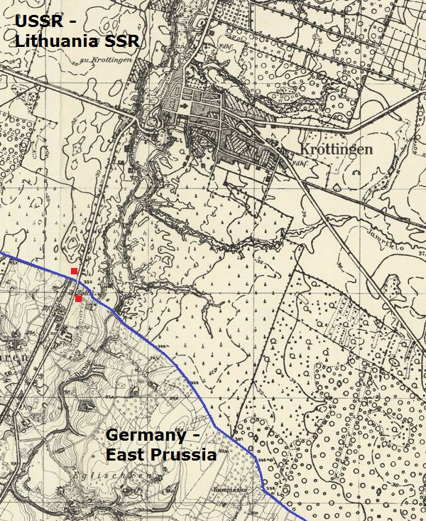 Map of Kretinga area after the Molotov-Ribbentrop Pact: This map shows the border between East Prussia and the Soviet Union in 1941. Kretinga was only two-kilometres from the Nazi border (blue line) until Operation Barbarossa. The German customs house (southern red dot) is clearly marked alongside the rail station to Memel (Klaipeda)