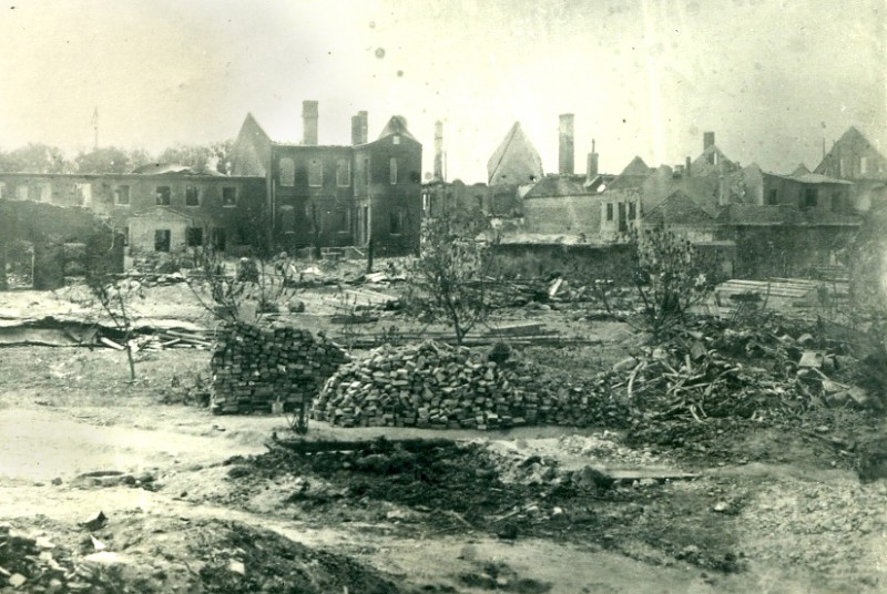 Burnt Houses in Kretinga after the Arson Provocation of the 25th June, 1941