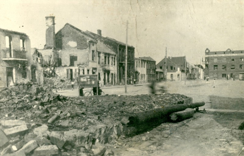 Burnt Houses in the Town Square after the Arson Provocation of the 25th June, 1941
