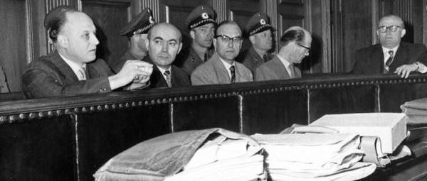 Ulm Trial Defendents - from left to right: Werner Kreuzmann, Gerhard Carsten, Edwin Sakuth, Werner Schmidt-Hammer & Hans-Joachim Böhme